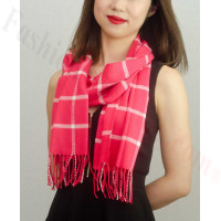 Woven Cashmere Feel Checker Scarf Z38 Hot Pink