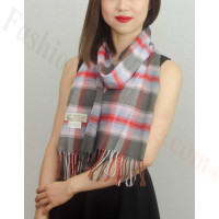 Woven Cashmere Feel Plaid Scarf Z39 Grey/Pink
