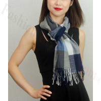 Woven Cashmere Feel Plaid Scarf Z39 Navy Blue
