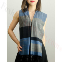 Woven Cashmere Feel Plaid Scarf Z40 Blue/Grey