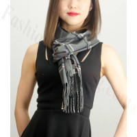 Woven Cashmere Feel Plaid Scarf Z40 Grey
