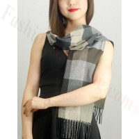Woven Cashmere Feel Plaid Scarf Z40 Brown/Beige