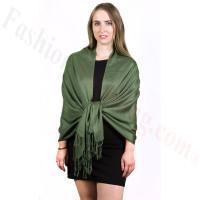 Silky Soft Solid Pashmina Scarf Dark Olive NEW