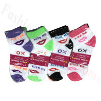 Women Lip Print Socks Dozen (12 Pairs) - Assorted Color