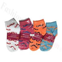 Women Moustache Print Socks Dozen (12 Pairs) - Assorted Color