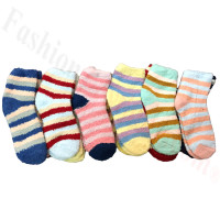 Ladies Fuzzy Striped Socks Dozen (12 Pairs) - Assorted Color