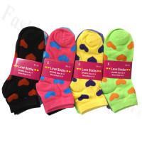 Women Heart Print Socks Dozen (12 Pairs) - Assorted Color