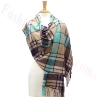Cashmere Feel Plaid Shawl Purple / Blue