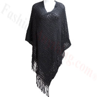 Two Tone Knit Poncho Black