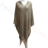 Two Tone Knit Poncho Brown