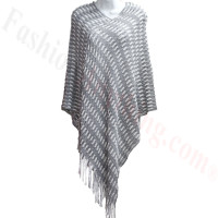 Two Tone Knit Poncho Grey
