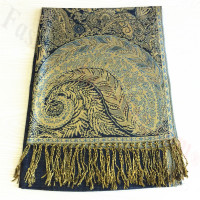 Big Paisley Thicker Pashmina Navy