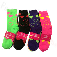 Women Heart Print Crew Socks Dozen (12 Pairs) - Assorted Color