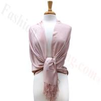 Pink Beige Solid Pashmina Label Scarf