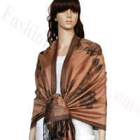 Rose & Leaf Pashmina Golden Brown