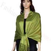 Satin Pashmina Wrap Olive Green