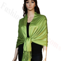 Satin Pashmina Wrap Yellow Green