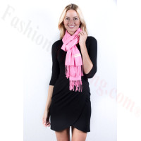 Pink Solid Pashmina Label Scarf