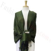 Paisley Jacquard Pashmina Army Green / Black Dozen (12 pcs)