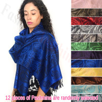 Rose Border Pashmina 1 DZ, Asst. Color