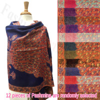 Peacock Tail Border Metallic Pashmina 1 DZ, Asst. Color