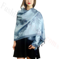Rose & Leaf Pashmina Light Denim
