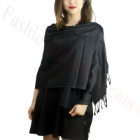 Rose & Leaf Pashmina Black