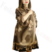 Rose & Leaf Pashmina Dark Brown