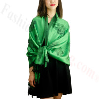 Rose & Leaf Pashmina Green