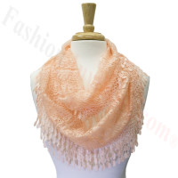 Infinity Lace Scarf Peach