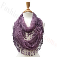 Infinity Lace Scarf Purple Grey