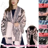 Fashion Print Scarfs - Camouflage & Leopard 1 DZ, Asst. Color
