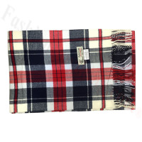 Woven Cashmere Feel Plaid Scarf Navy / White