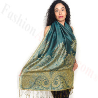 Big Paisley Thicker Pashmina Turquoise/Gold
