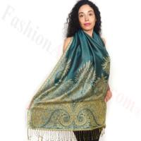 Big Paisley Thicker Pashmina Turquoise/Gold Dozen (12 Pcs)