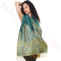 Big Paisley Thicker Pashmina Turquoise/Green