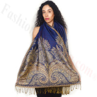 Big Paisley Thicker Pashmina Royal Blue