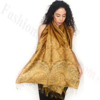 Big Paisley Thicker Pashmina Golden Brown