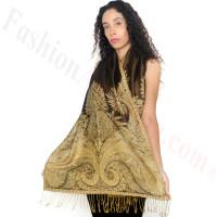 Big Paisley Thicker Pashmina Black/Gold