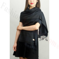 Simple Pasiley Pashmina Black