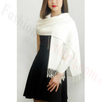 Simple Pasiley Pashmina White