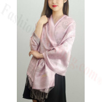 Simple Pasiley Pashmina Grey / Pink
