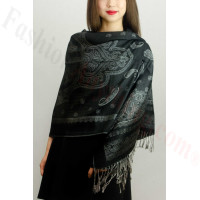 Simple Pasiley Pashmina Grey / Black