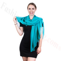 Light Solid Chiffon Shawl Light Teal
