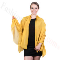 Light Solid Chiffon Shawl Golden Yellow