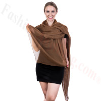 Light Solid Chiffon Shawl Brown