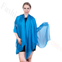 Light Solid Chiffon Shawl Ocean Blue