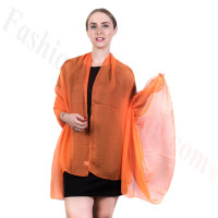 Light Solid Chiffon Shawl Orange