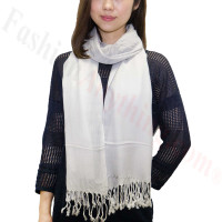 Ombre Solid Print Scarf Silver/White