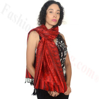 Floral Paisley Border Pashmina Red